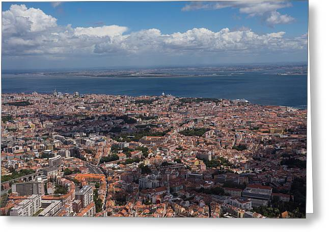 Flying Over Lisbon Portugal Greeting Card