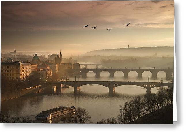 Flying Over Prague Greeting Card by Charlie Photographer
