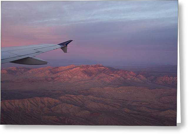 Flying Over The Mojave Desert At Sunrise Greeting Card