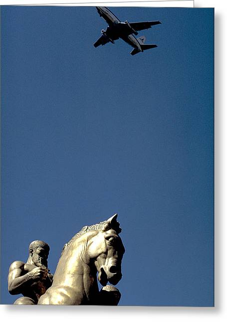 Flying Over Washington Dc Greeting Card by Carl Purcell