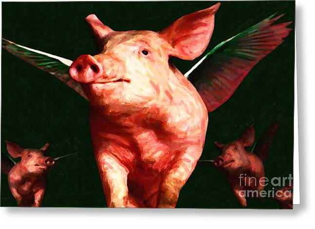 Flying Pigs V1 Greeting Card