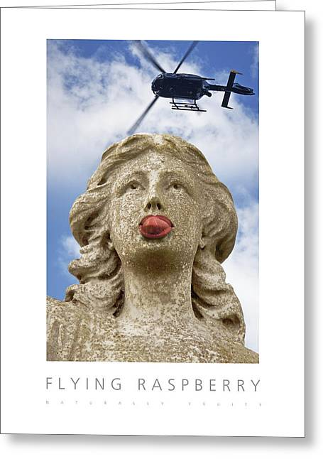 Greeting Card featuring the digital art Flying Raspberry Naturally Fruity Poster by David Davies