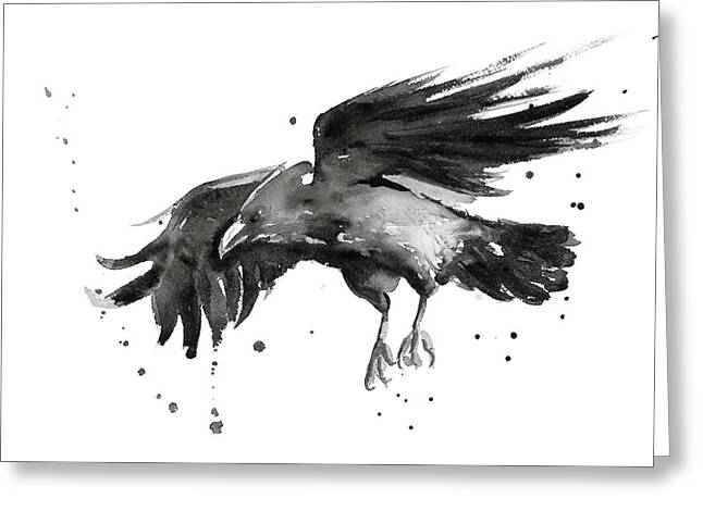 Flying Raven Watercolor Greeting Card