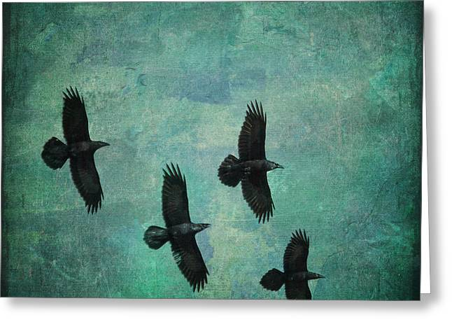 Greeting Card featuring the photograph Flying Ravens by Peggy Collins