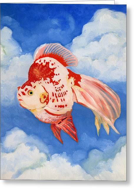 Flying Ryukin Greeting Card by Katherine Miller