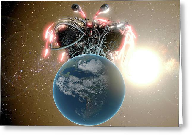 Flying Spaghetti Monster And Earth Greeting Card