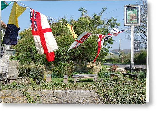 Flying The Flag For St George Greeting Card by Linda Prewer