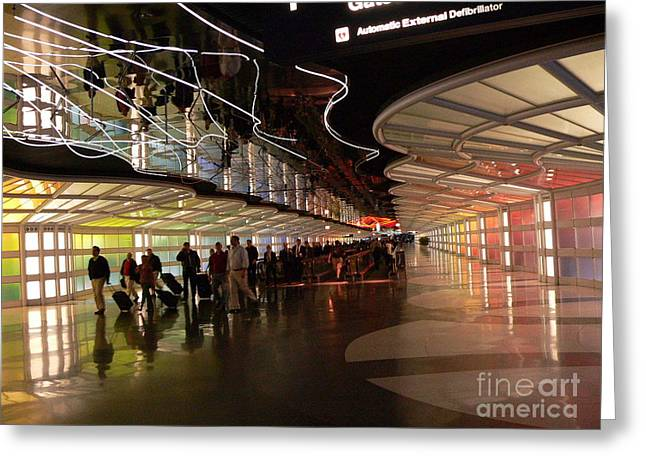 Flying Through Ohare Greeting Card by David Bearden