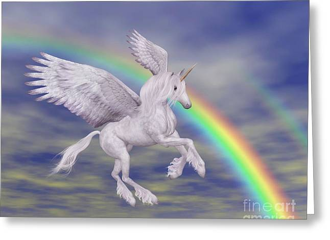 Flying Unicorn And Rainbow Greeting Card by Smilin Eyes  Treasures