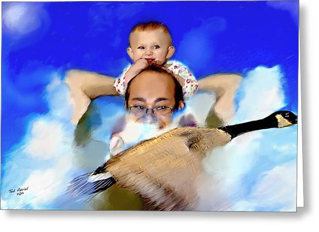 Greeting Card featuring the painting Flying With Canada Geese by Ted Azriel