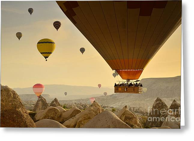 Flying With The Fairies 2 - Cappadocia Turkey Greeting Card by OUAP Photography