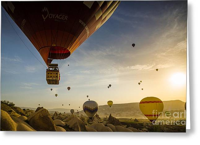 Flying With The Fairies - Cappadocia Turkey Greeting Card by OUAP Photography