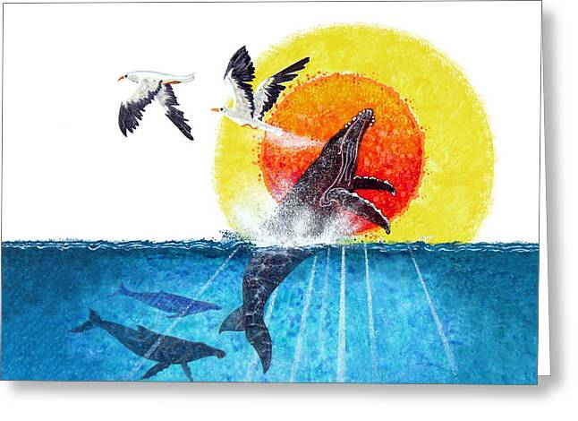 Greeting Card featuring the painting Flying With Whales by David  Chapple