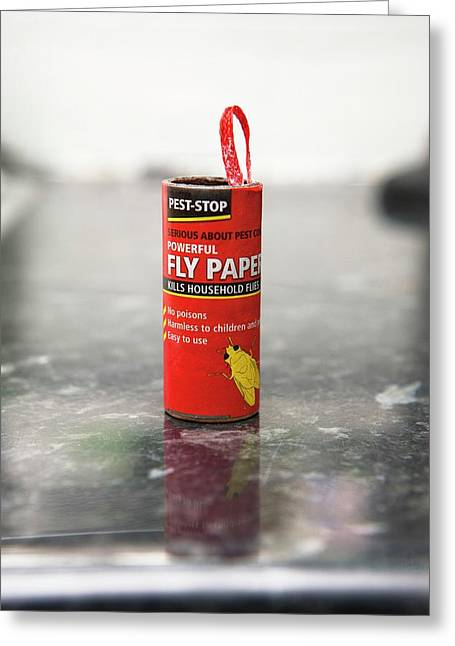 Flypaper Container Greeting Card by Lewis Houghton/science Photo Library