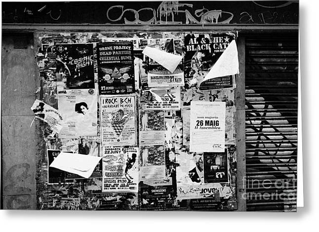 Flyposters Outside A Disused Shop In Barcelona Catalonia Spain Greeting Card