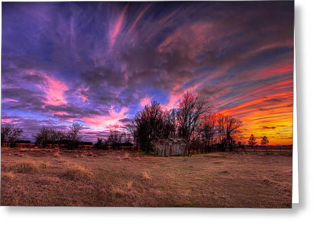 Fm Sunset Pano In Needville Texas Greeting Card