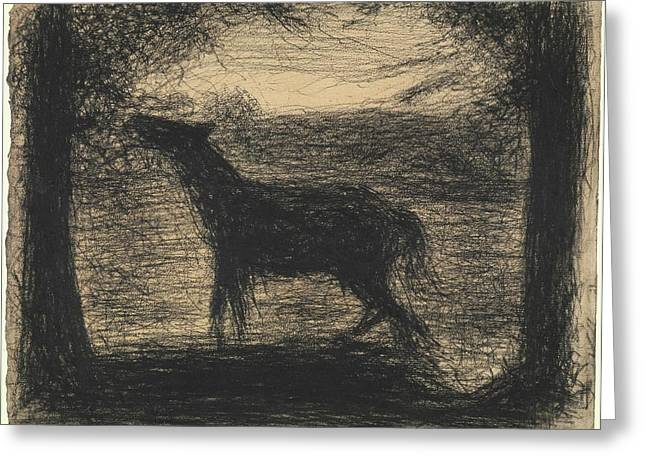 Foal Le Poulain Also Called The Colt Greeting Card by Georges Seurat
