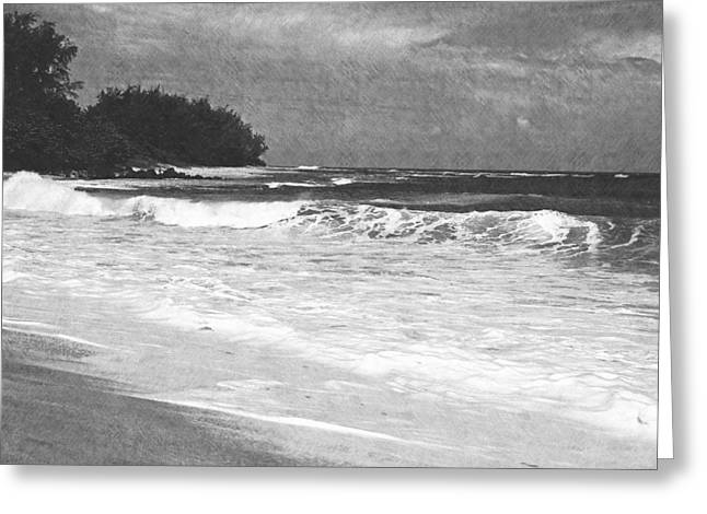Foamy Surf Pencil Rendering Greeting Card by Frank Wilson