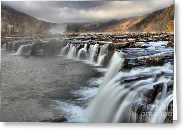 Fog And Foliage At Sandstone Falls Greeting Card by Adam Jewell