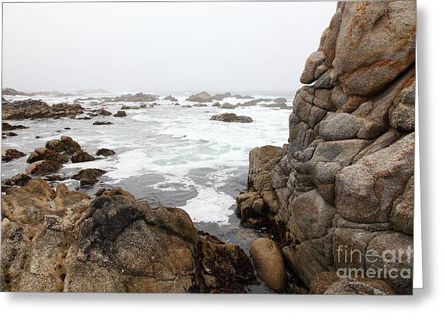 Fog And Rock Formations At Asilomar State Beach In Pacific Grove Near Monterey California 5d25120 Greeting Card