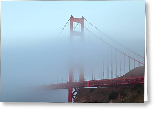 Fog And The Golden Gate Greeting Card by Jonathan Nguyen