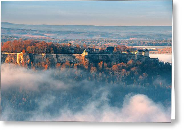 Fog Around The Fortress Koenigstein Greeting Card