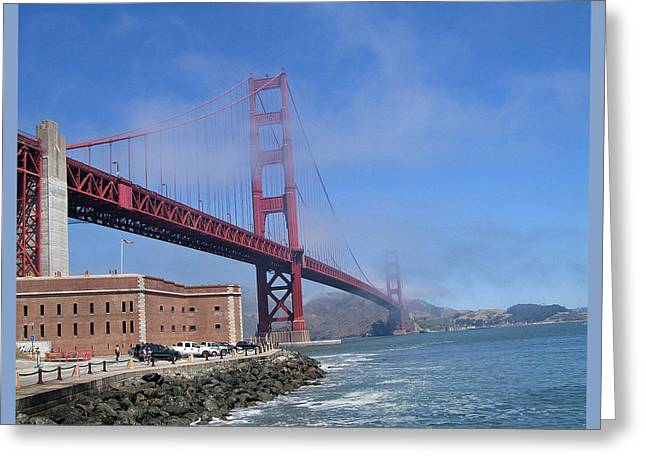 Fog Coming Over The Golden Gate Greeting Card by Jay Milo