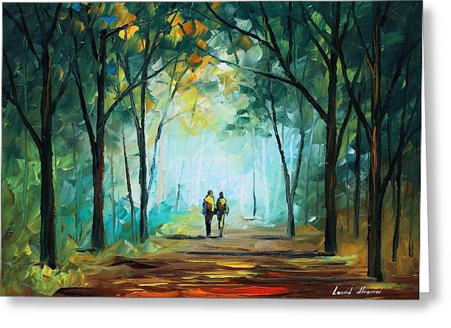 Fog Elegy - Palette Knife Oil Painting On Canvas By Leonid Afremov Greeting Card