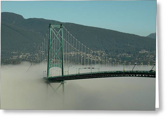 Fog Engulfing The Lion's Gate Bridge Greeting Card by Brian Chase