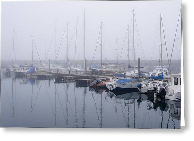 Fog In Marina I Greeting Card