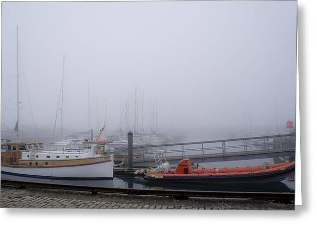 Fog In Marina IIi Greeting Card