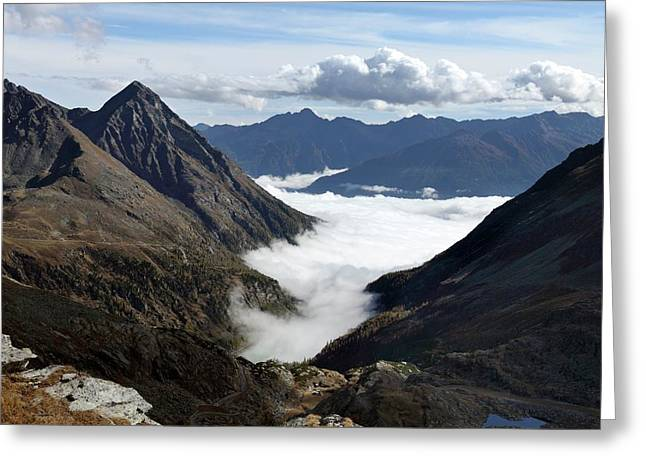 Fog In Mountain Valley Greeting Card