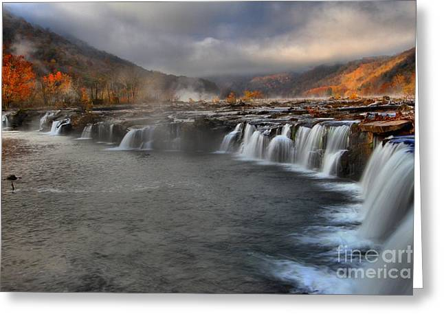 Fog In The Sandstone Falls Valley Greeting Card by Adam Jewell