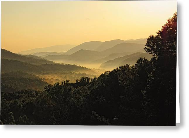 Fog In The Valleys Greeting Card