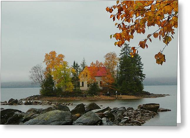 Greeting Card featuring the photograph Fog Island by Elaine Franklin