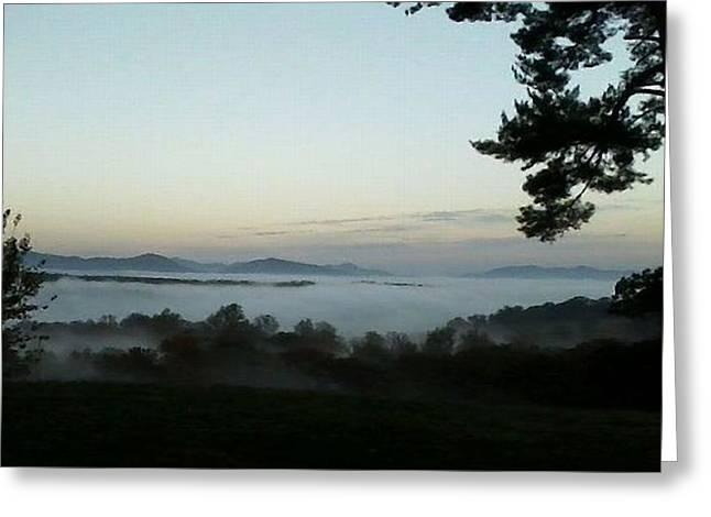 Fog Mountain Lake Greeting Card