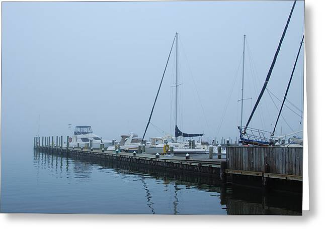 Fog On The Marina - Jersey Shore Greeting Card by Angie Tirado