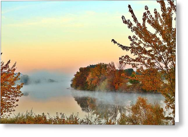 Greeting Card featuring the photograph Fog On The River by Lynn Hopwood