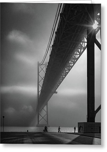Fog On The Tejo River Greeting Card