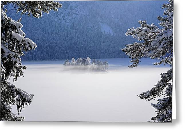 Fog Over Frozen Lake Greeting Card