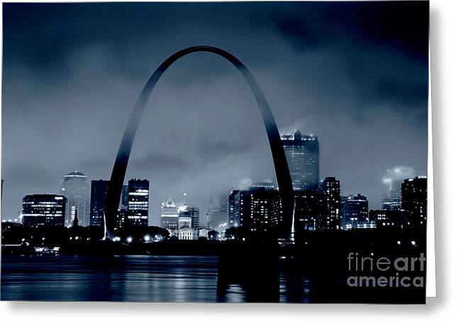 Fog Over St Louis Monochrome Greeting Card