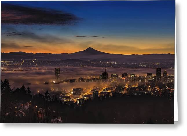 Fog Rolling In At Dawn Over The City Of Portland Greeting Card