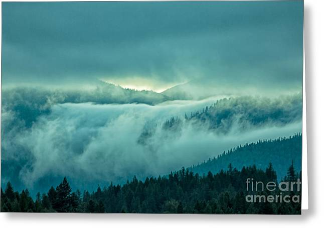 Fog Rolling Over The Montana Rocky Mountains Greeting Card by Natural Focal Point Photography
