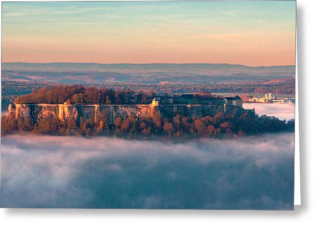 Fog Surrounding The Fortress Koenigstein Greeting Card