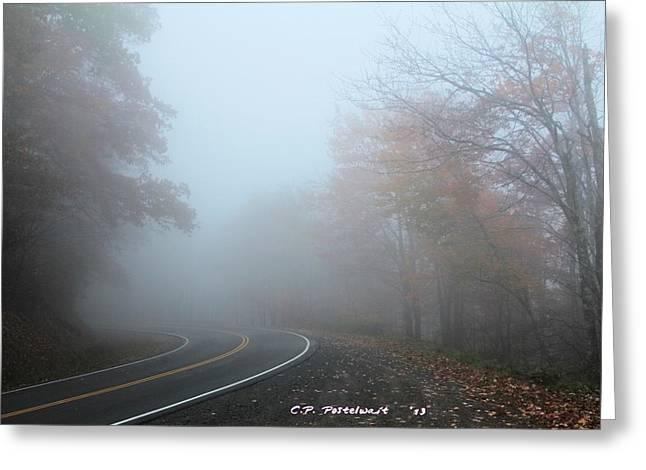 Foggy Autumn Day Greeting Card by Carolyn Postelwait