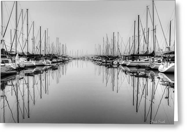 Greeting Card featuring the photograph Foggy Autumn Morning - Black And White by Heidi Smith