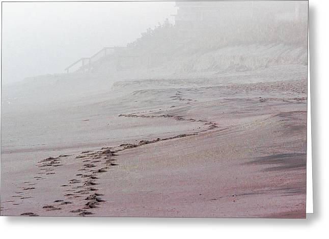 Foggy Beach At Dawn Greeting Card