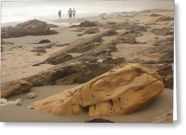Foggy Beach Walk Greeting Card by Art Block Collections