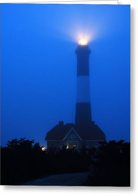 Greeting Card featuring the photograph Foggy Beacon by James Kirkikis