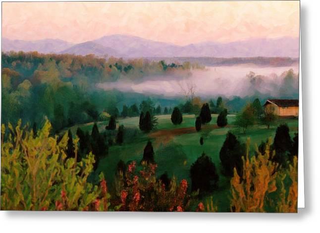Foggy Blue Ridge Morning Greeting Card